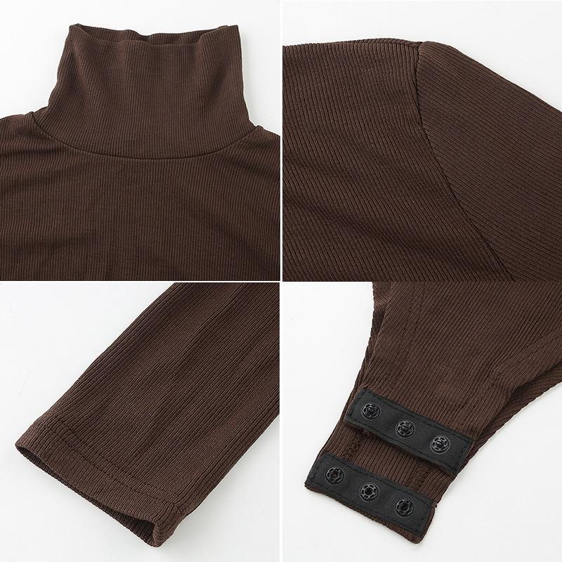 Darlingaga Casual Solid Skinny Turtleneck Long Sleeve Bodysuit Warm Basic Woman Body Fall Winter High Neck Sheer Bodysuits Slim