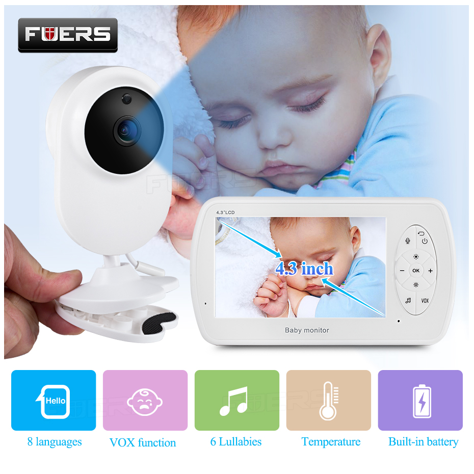 Wireless Video Color Baby Monitor 4.3 Inch High Resolution Night Vision Temperature Monitoring Baby Nanny Security Camera