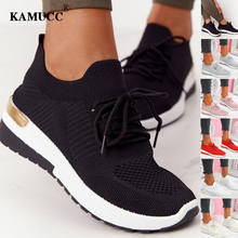 Nova mulher tênis senhoras cor sólida vulcanizada sapatos rendas-up dedo do pé redondo cunha senhoras sapatos ao ar livre casual confortável calçados femininos