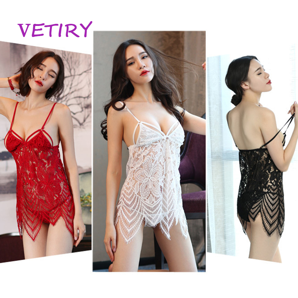 VETIRY Sexy Lingerie For Women Sexy Underwear Ladies Lace Transparent Sex Nightdress Erotic Lingerie Dress Suit image