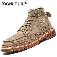 2019 autumn mens ankle boots casual pigskin leather socks shoes male combat boot man timber land military for men