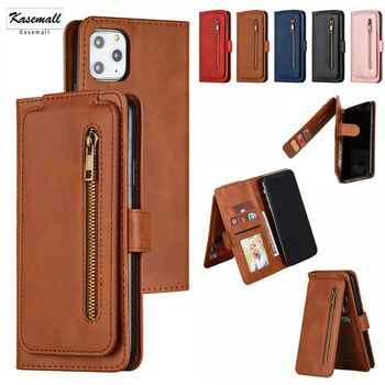 9 Card Slots Leather Case For iPhone 11 Pro 11 X XS XR XS MAX Luxury Magnetic Zipper Wallet Phone Cover For iPhone 6 6S 7 8Plus tanie i dobre opinie Calasten Portfel Przypadku 9 Card Slot Wallet Zipper leather case for iphone 11 pro max 11 pro Apple iphone ów Iphone 5