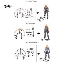 JOYTOY 1/18 3.75 Action Figure (3 PÇS/SET) Sem Pintura Marinha CIA Cavalaria Modelo Militar Soldado Anime Coleção Toy Frete Grátis