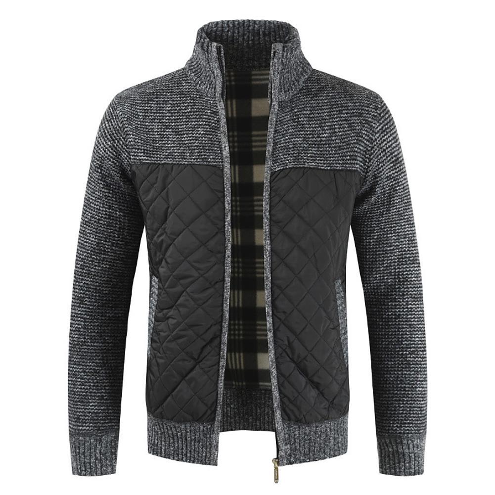2021 Casual Men Autumn Zip Thick Knitted Sweater Pockets Warm Slim Cardigan Coat мужская куртка 4