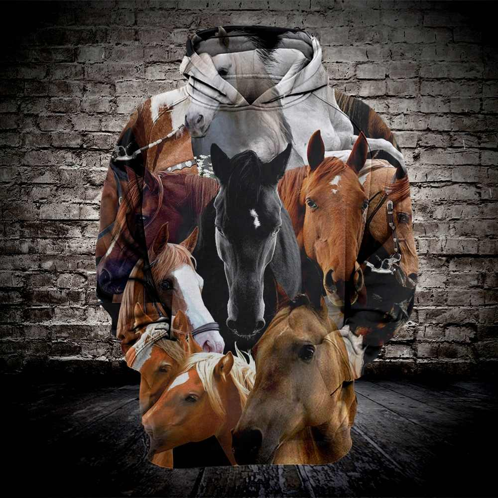 2019 New Fashion Casual Sweatshirt Men 3d Hoodies Print Horse Animal Pattern Loose Hooded Hoodies Drop Shipping
