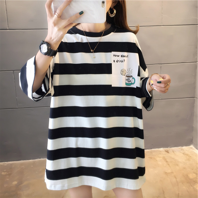 Hc6726021272847aaa7c720bf54724ccey - harajuku Women Striped Oversize Tshirt Chic Fashion 90s Short Sleeve Loose T-shirts Female Casual Tops Clothes Streetwear Tees