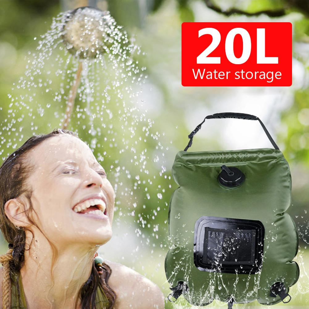 Portable 20L Outdoor Travel Camping Hiking Solar Energy Heated Shower Bag Pouch Heated Shower Bag Pouch Heated Shower Bag Pouch
