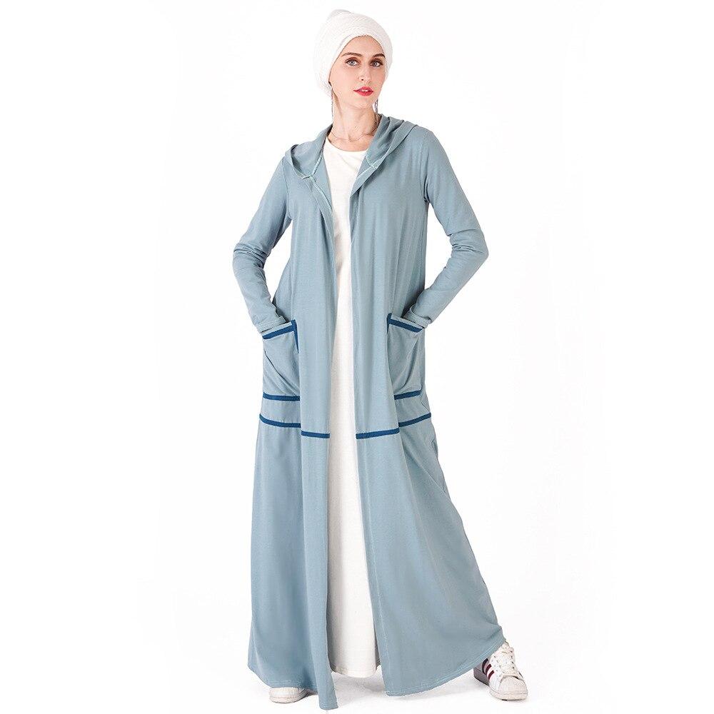 Дубай мусульманский ислам открытый абайя кимоно для женщин с капюшоном карманы длинные халаты простая повседневная верхняя одежда