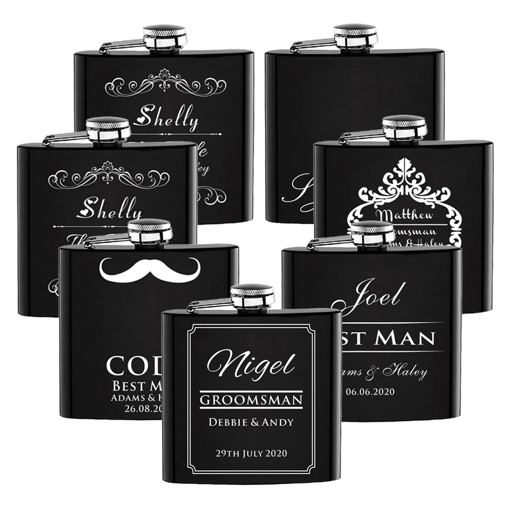 Personalized Flask 6oz Hip Flask Stainless Steel Flask Best Man Wedding Gift with Gift box packing Wedding Favors Logo