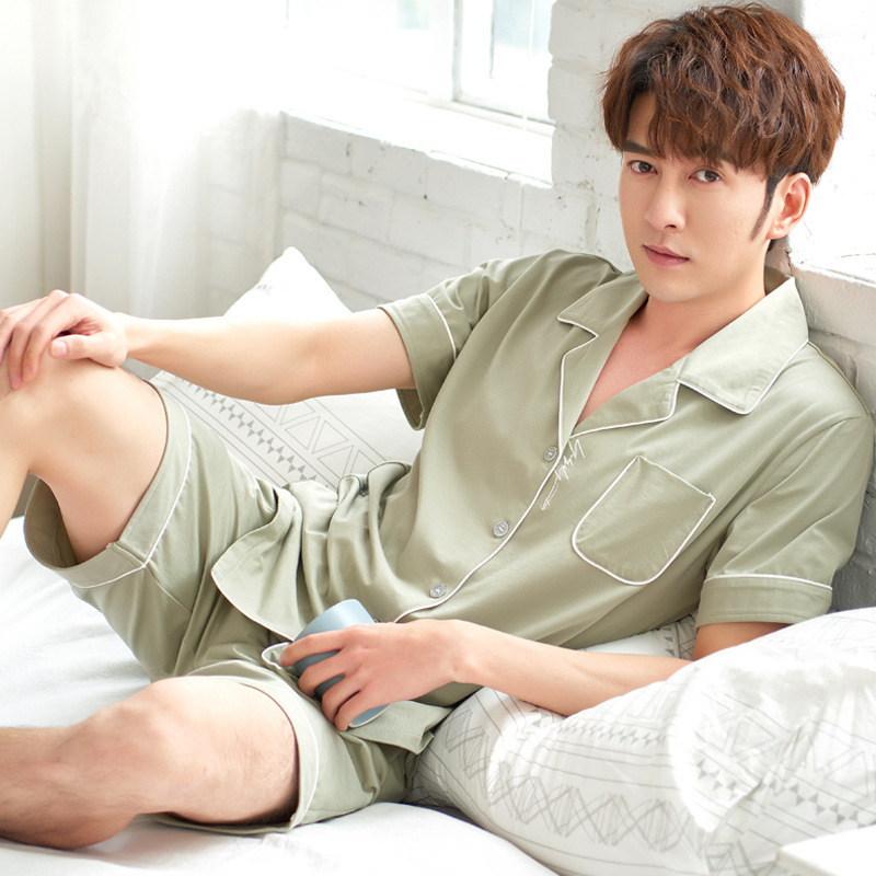 Summer Pajamas Men's Set Short sleeved Button Cardigan Lapel  Pajamas Casual Comfortable Summer Home Service Turn down Collar