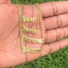 Персонализированные Старый английский название шрифта ожерелье