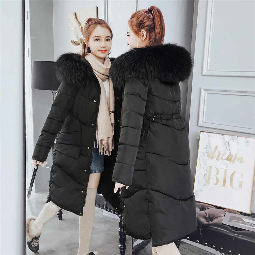 Winter Mantel Frauen Mit Dicken Baumwolle Lange Mode Frauen Winter Mantel Faux Pelz Mit Kapuze Kragen Lange Jacken Warme Verdicken Padded mantel
