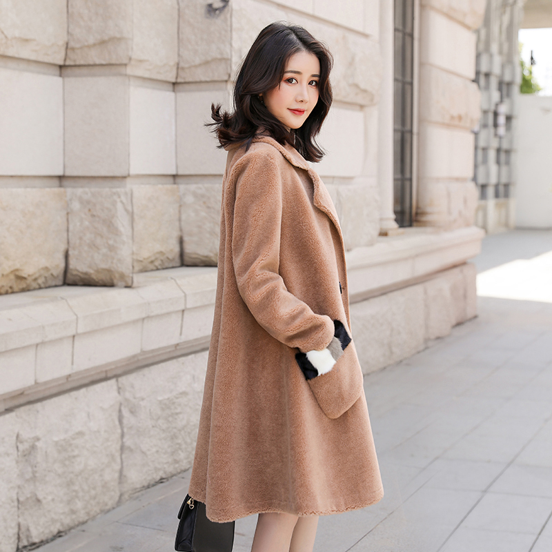 Coat Wool 100% Female Sheep Shearling Fur Jackets 2020 Winter Jacket Women Long Coats Korean Outwear Suede Lining MY3704 S