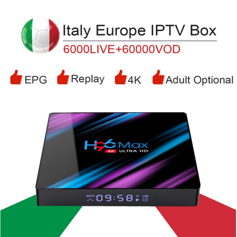 H96 MAX RK3318 Android 9.0 / 4K HDR Smart Tv Box&italy super iptv subscription Germany Albania Turkey UK ExYu adult iptv