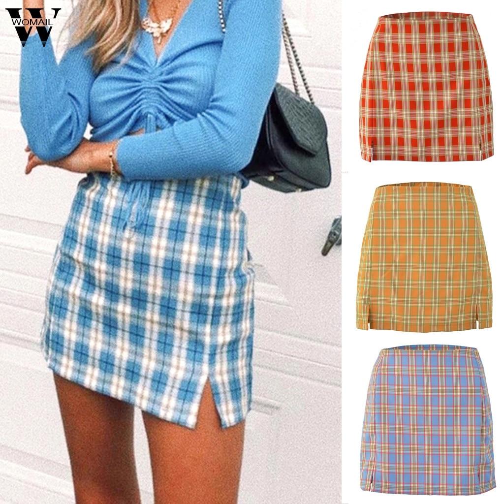 Womail Summer Skirt Women 2020 Harajuku Green Plaid Skirt High Waist Skirt Ladies Mini Skirt Pencil Casual Saia Split Beach P0