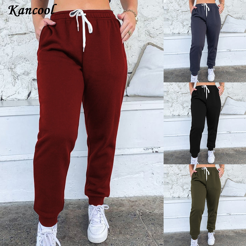 KANCOOL 2020 Early Autumn Women Casual Gym Sweatpants Workout Fleece Trousers Solid Thin Winter Warm Female Sport Pants Running|Pants & Capris|   - AliExpress
