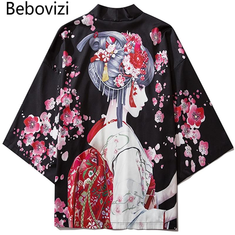 Bebovizi Black Fashion Streetwear Beauty Print Kimono Cardigan Robe China Haori Obi Traditional Japanese Clothes For Women Men