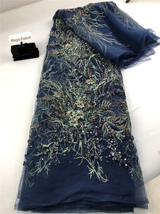 Image 1 - African Fashion Tassel Lace Fabric 2019 High Quality French Embroidered Tulle Lsce For Nigerian Wedding Party Dress   H0139