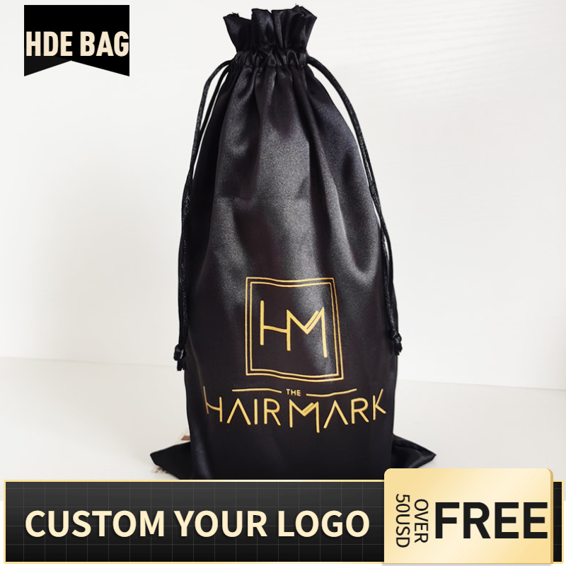 100pcs 18x30cm Custom Logo Satin Hair Bag Extensions Bundles Wig Packaging Drawstring Bags Underwear Shoes Cloth Storage Pouches