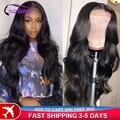 Клюквы волосы перуанский объемная волна парик 4x4 кружева закрытие парик 100% волосы Remy парики из натуральных волос для черный Для женщин пред...
