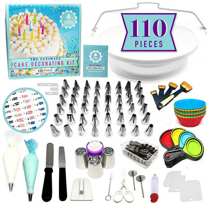Cake Decorating Tools Kit Turntable Pastry Nozzles For Cream Confectionery Bags Icing Piping Nozzles Tips Baking Tools For Cakes|Dessert Decorators| |  - title=