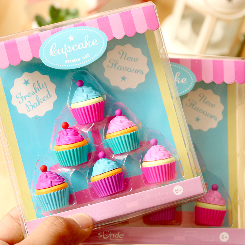 6pcs Freshly Baked Cupcake Eraser Set Mini Cake Rubber Erasers For Pencil Child Kids Gift Office School Student Supplies A6389