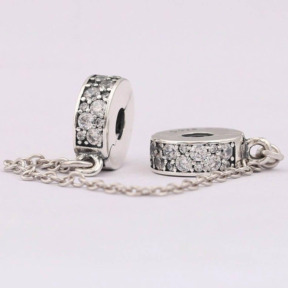 S925 argent bijoux à bricoler soi-même brillant pince chaîne de sécurité breloques ajustement dame Bracelets et Bracelets clair CZ