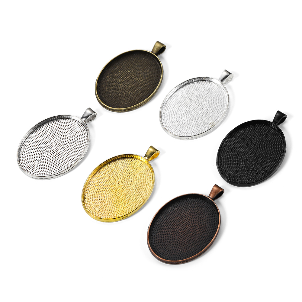 5pcs/lot Fit 30*40mm Glass Gold Silver Pendant Blank Settings Cabochon Base Cameo For DIY Jewelry Making Supplies Accessories