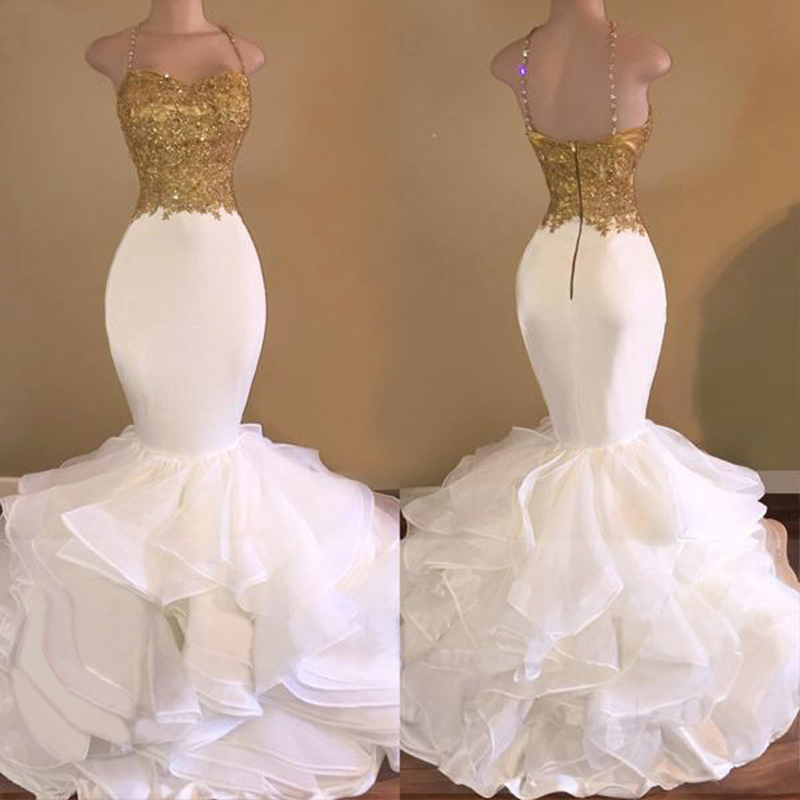 Long Prom Dresses 2019 Elegant Mermaid Evening Dress Sexy Spaghetti Strap White Gold African Party Prom Gown Vestido De Festa