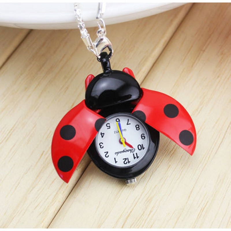 New Brand Fashion Colorful Ladybug Necklace Pocket Pendant Dress Quartz Watch Kids Girls Keychain Clock Reloj