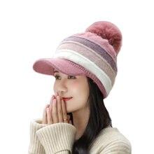New winter pompom hat for women spring cotton knitted baseball