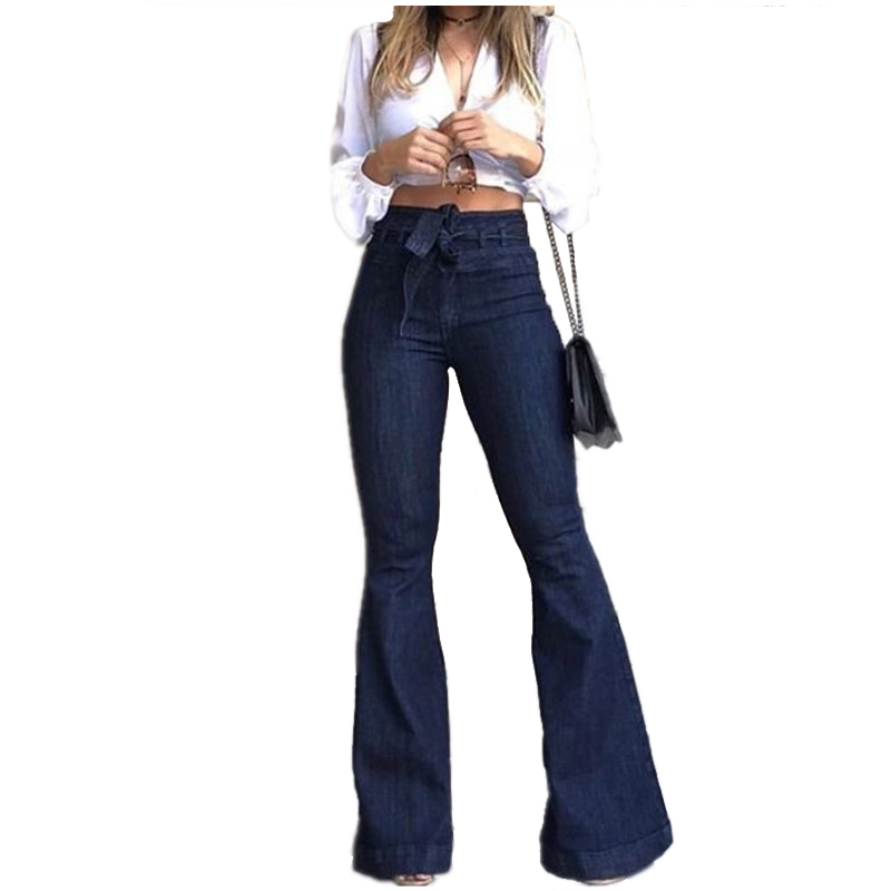 FREE RETURN Jeans For Women Female High-waisted Jeans Mon Micro Elastic Cotton Bell-bottom Jeans Washed Denim Wide Leg Pants