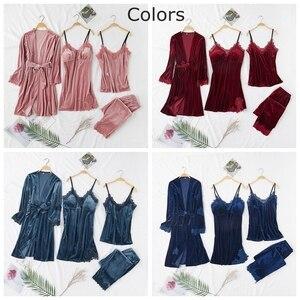 Image 5 - JULYS SONG ensemble 4 pièces de pyjama chaud dhiver en velours, pyjama Sexy en dentelle, vêtement de nuit, sans manches
