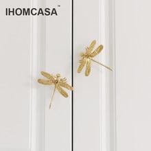 IHOMCASA Dragonfly/Butterfly Shape Brass Knobs Furniture Cupboard Pulls Dresser Wardrobe Drawer Kitchen Cabinet Handles Hardware