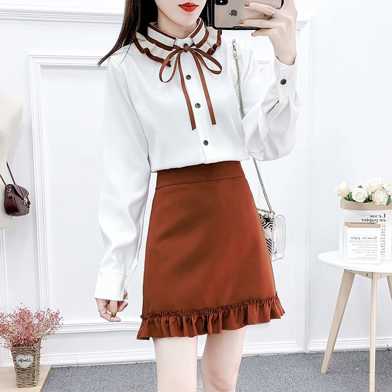 2020 Spring New Style Hyuna College Gentle-Style Contrast Color Chiffon Blouse Black Fungus Skirt Set