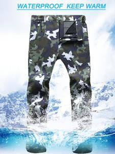 Softshell Pants Trekking Fleece Warm Waterproof Winter Outdoor Thick Men