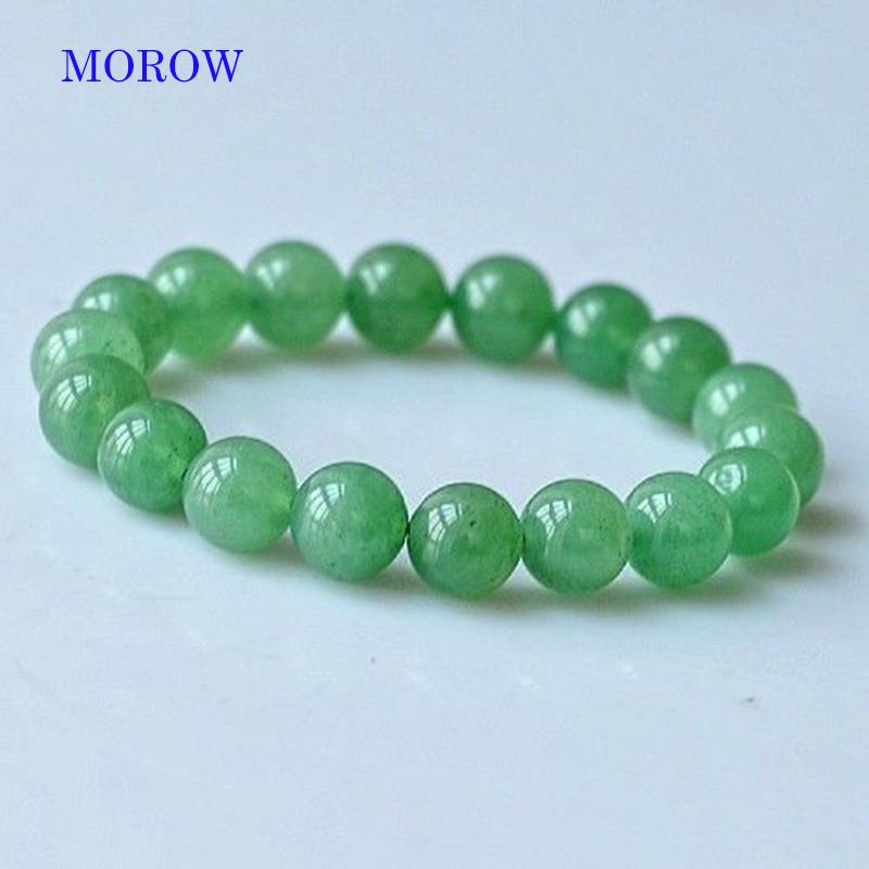 MOROW 100% Natural Green Aventurine Round Bead Stone Bracelet Jewelry Simple Women`s Men Bracelets Fashion Classic Accessory New (12)
