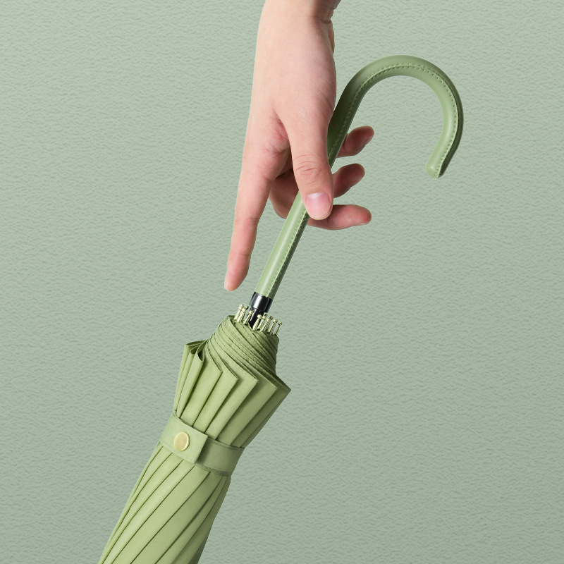 16 Bone Clean Steel Long Handle Umbrella Large Size 16 Bone Portable Block Rain College Style