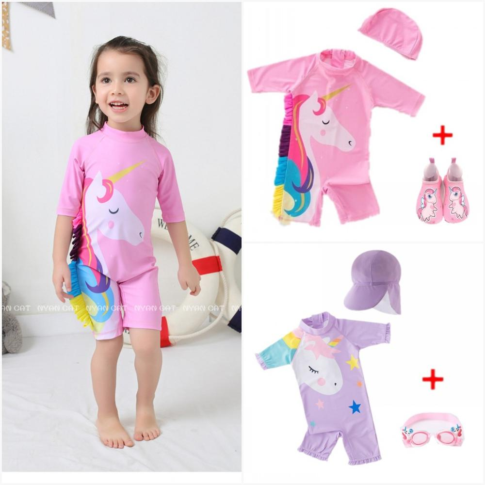 Baby Girls Swimwear Unicorn Surf Suit Swimsuit Bathing Suit 9M-6Y Pink 3D Frill Mane  With Goggles Swimwear Kids UV Protection