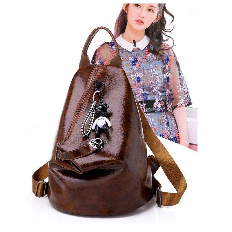 High Quality Pu Leather Backpack Fashion Single Shoulder Handbag Personality Trend Handbag Zipper Mummy Bag With Headphone Hole