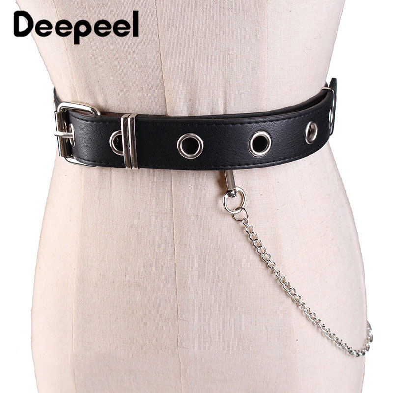 Deepeel 1pc Women PU Punk Style Cummerbund Hollow Out Metal Pin Buckle Decorative Single Grommet Buckle Chain Gothic Belt YK761
