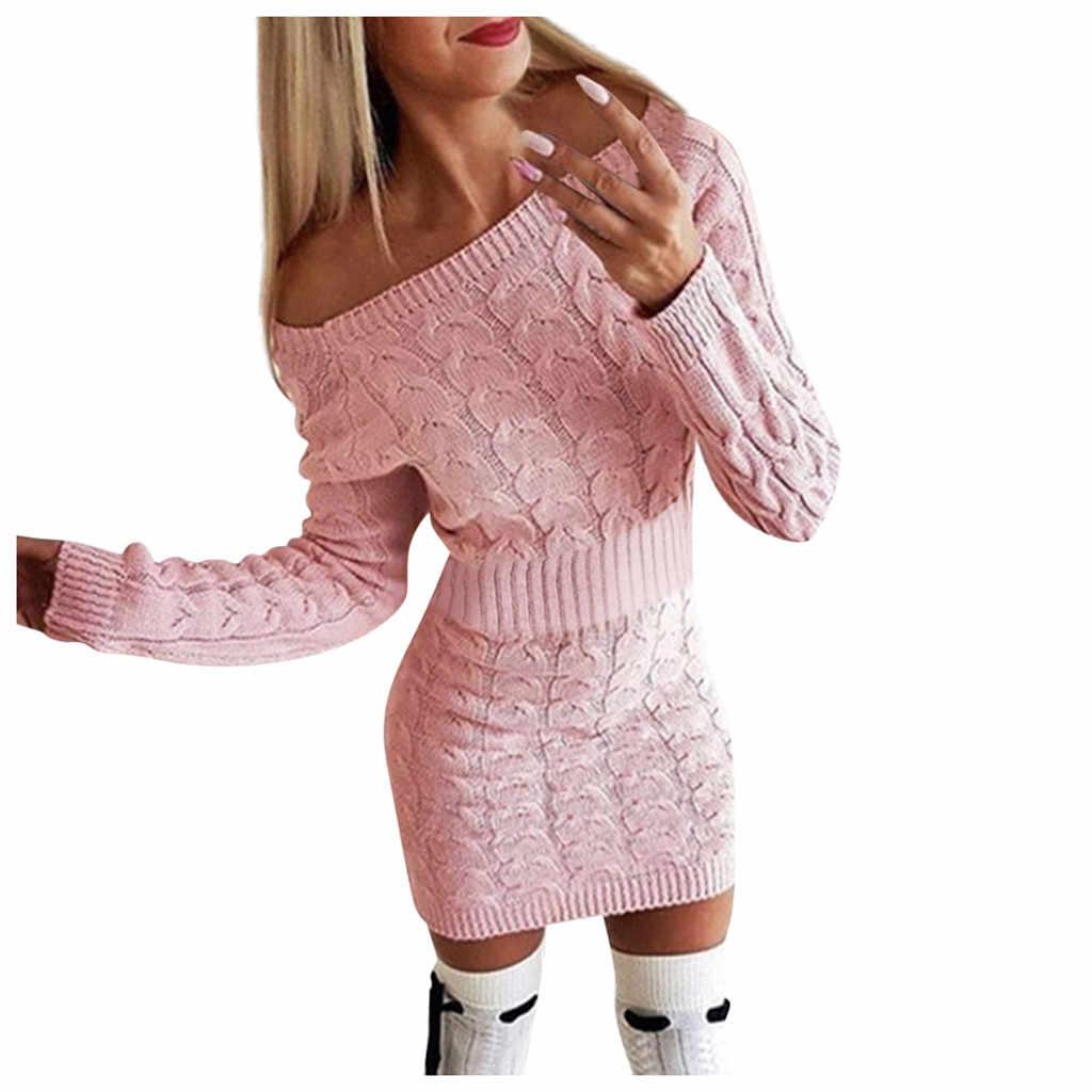 Sexy uit de schouder jurk Vrouwen Mode Mid-Herfst en Winter vrouwen Lange Twisted Trui Jurken Elegant Zonnejurk vestidos
