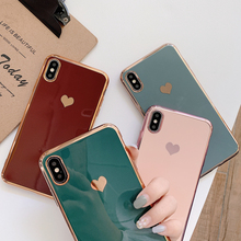 Luxury Electroplated Love Heart Phone Case For iPhone 11 Pro Max XR XS Max 7 8 6 6S Plus X Shockproof Soft TPU Protective Cover oneplant electroplated love heart phone case for iphone 11 pro max xr xs x xs max silica gel phone cover for 7 8 6 6s plus
