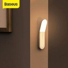 Baseus automatyczna indukcja schody LED czujnik światła PIR czujnik noc światła akumulatorowa lampa LED ścienne lampa do sypialni nocna kuchnia