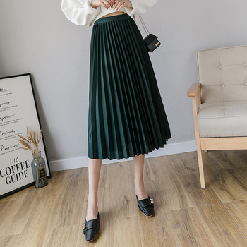 Spring new women's clothing pleated skirt Women's skirt shiny slim was thin high waist skirt wild black skirt 2019 korean version of the new skirt female was thin spring rivet high waist elastic waist black pleated skirt s xxl mini skirt