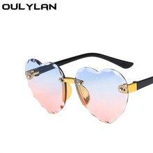 Kids Sunglasses Children Goggle Rimless Heart-Shape Pink Girls Boys Fashion Oulylan UV400