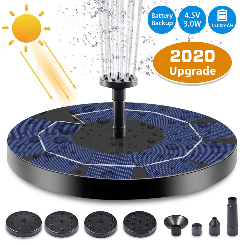5V//2W Aquarium Solar Fountain Pump,New Upgraded Mini Solar Powered Bird Bath Fountain with Rechargeable Battery,Floating Solar Panel Water Pump for Pond Fish Tank Garden Pool