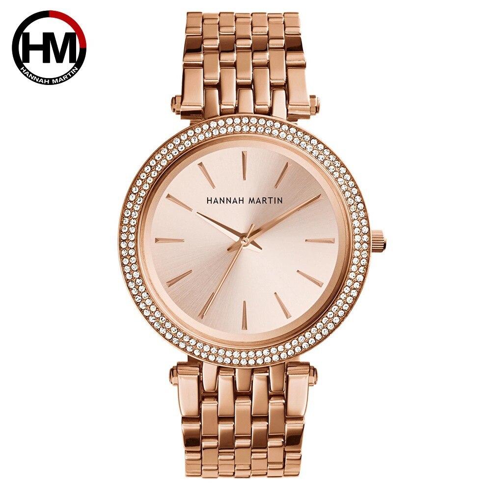 Hannanh Martin Luxury Watch Women 2019 Crystal Golden Stainless Steel Waterproof Quartz Wrist Watch Dress Clock Relogio Feminino