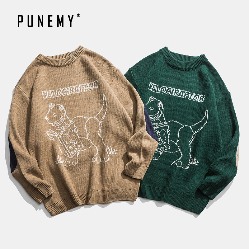 Men Pullover Sweaters Retro Dinosaur Pattern Acrylic Oversize Hip Hop Streetwear Harajuku Autumn New O-neck Casual Men's Seaters