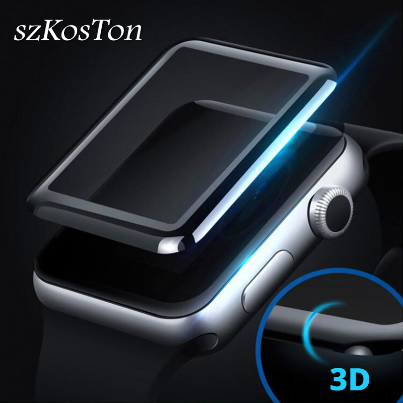 Full Coverage Tempered Glass For Apple Watch 4D 3D Curved Surface Film 38mm 42 Mm Screen Protector For Apple Series Watch 1 2 3